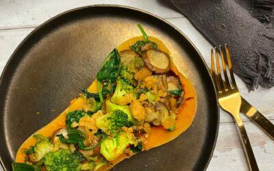 Butternut met gehakt, spinazie en champignons