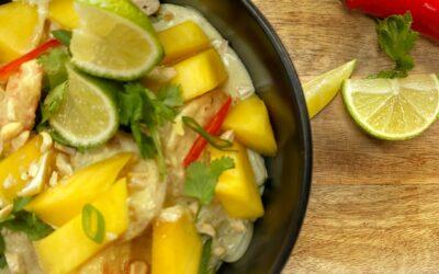 Thaise curry met mango en scampi